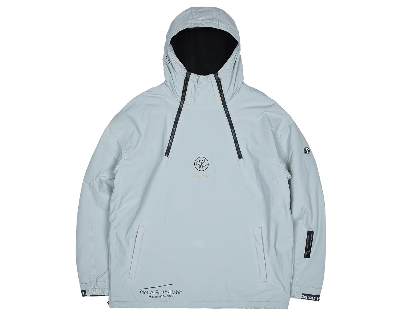 DOUBLE ZIP UP PULLOVER WHITEGRAY / GAFH