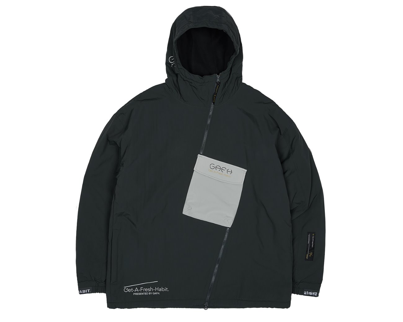 SIDE ZIP UP PULLOVER BLACK / GAFH