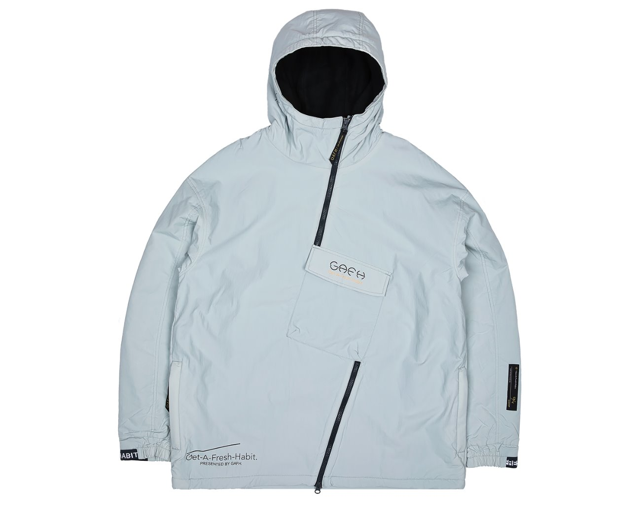 SIDE ZIP UP PULLOVER WHITEGRAY / GAFH